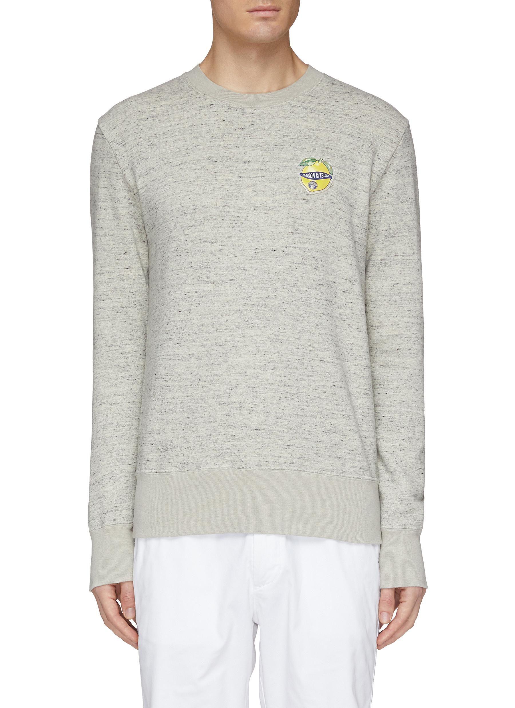 Maison Kitsune Lemon Logo Applique Cotton Linen Sweatshirt Modesens Sweatshirt Fashion Maison Kitsune Cotton Linen [ 2475 x 1800 Pixel ]