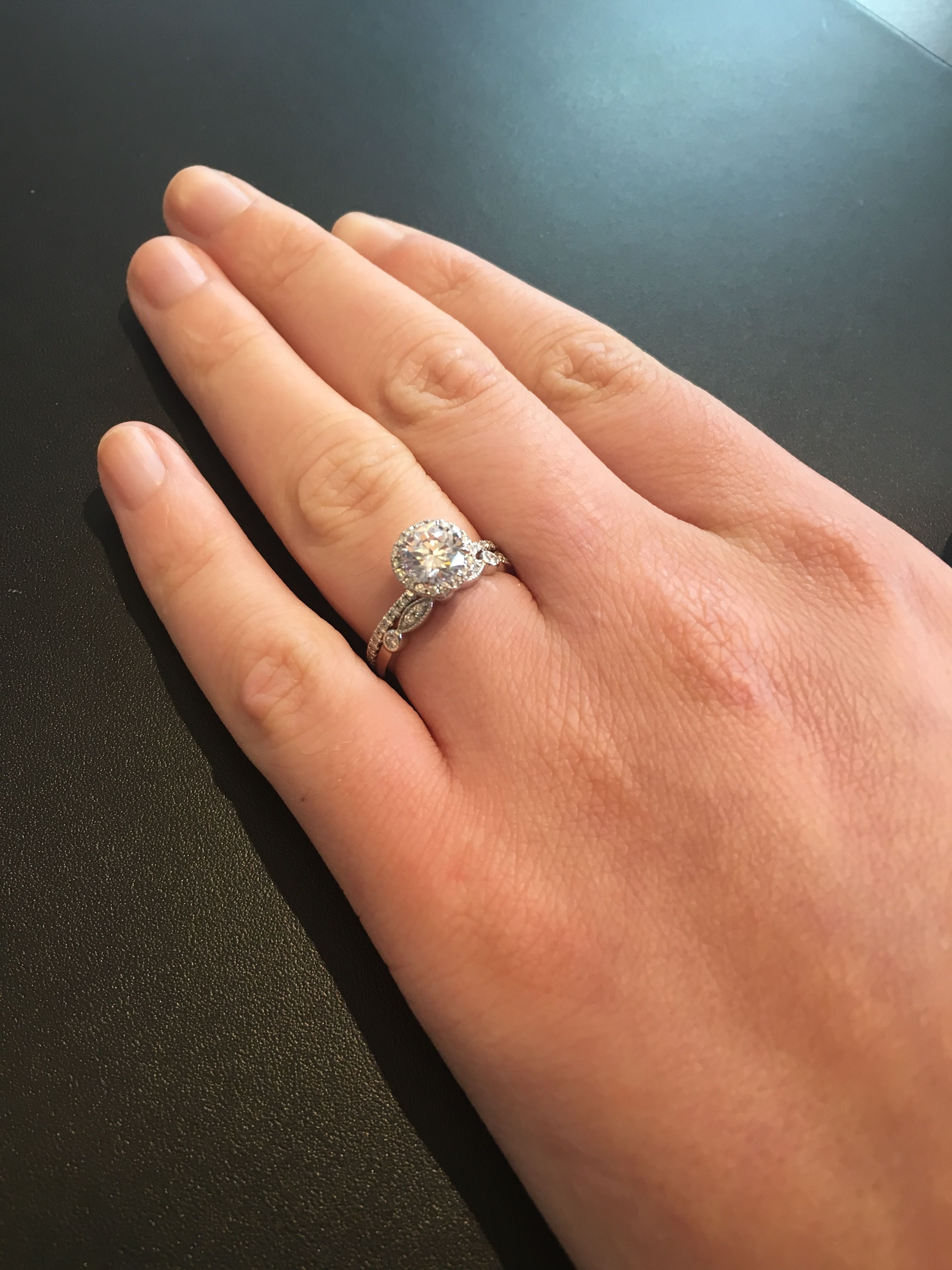 brilliant earth wedding bands Brilliant earth Waverly Engagement ring with the Tiara wedding band