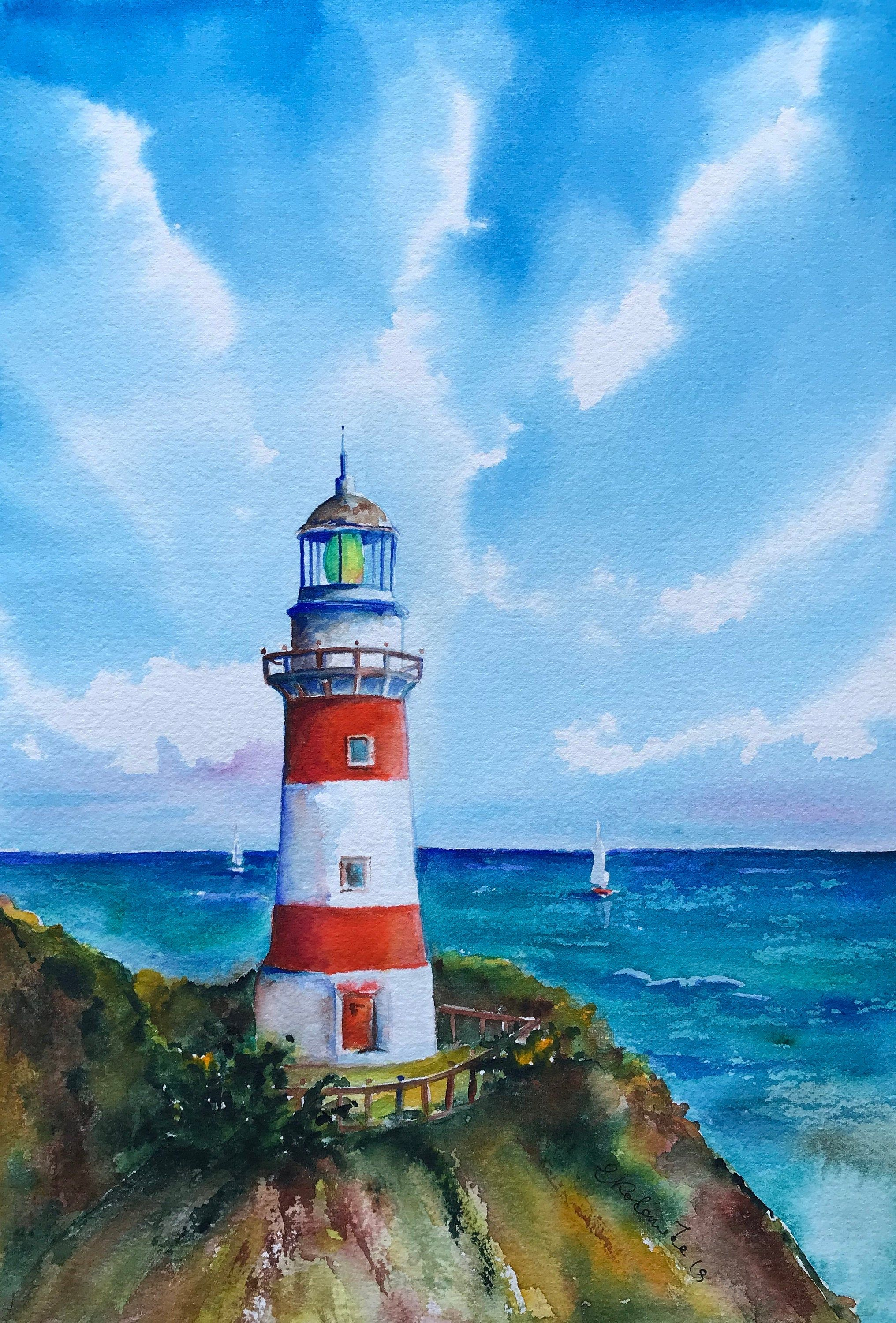 Original Seascape Watercolor Lighthouse Painting Painter
