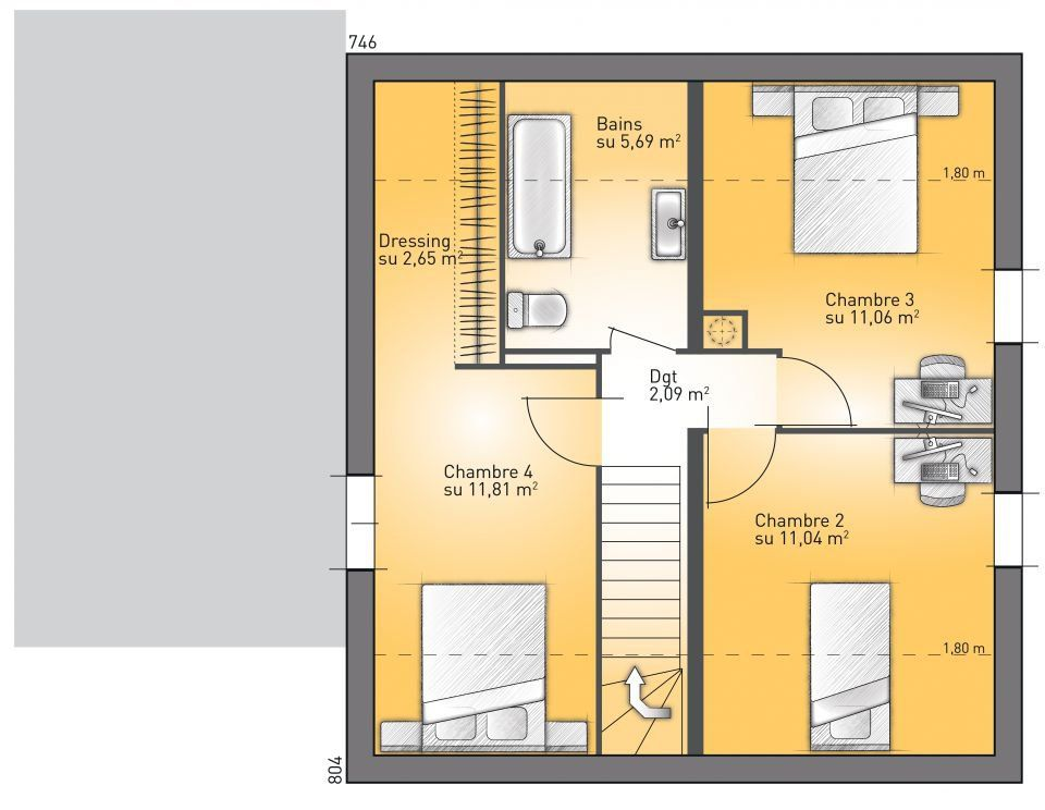 Plan maison 90m2 r 1 for Modele maison r 1