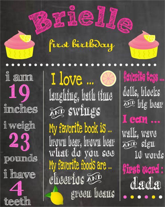 Printable first birthday chalkboard poster pink lemonade birthday party pink lemonade theme for First birthday chalkboard printable
