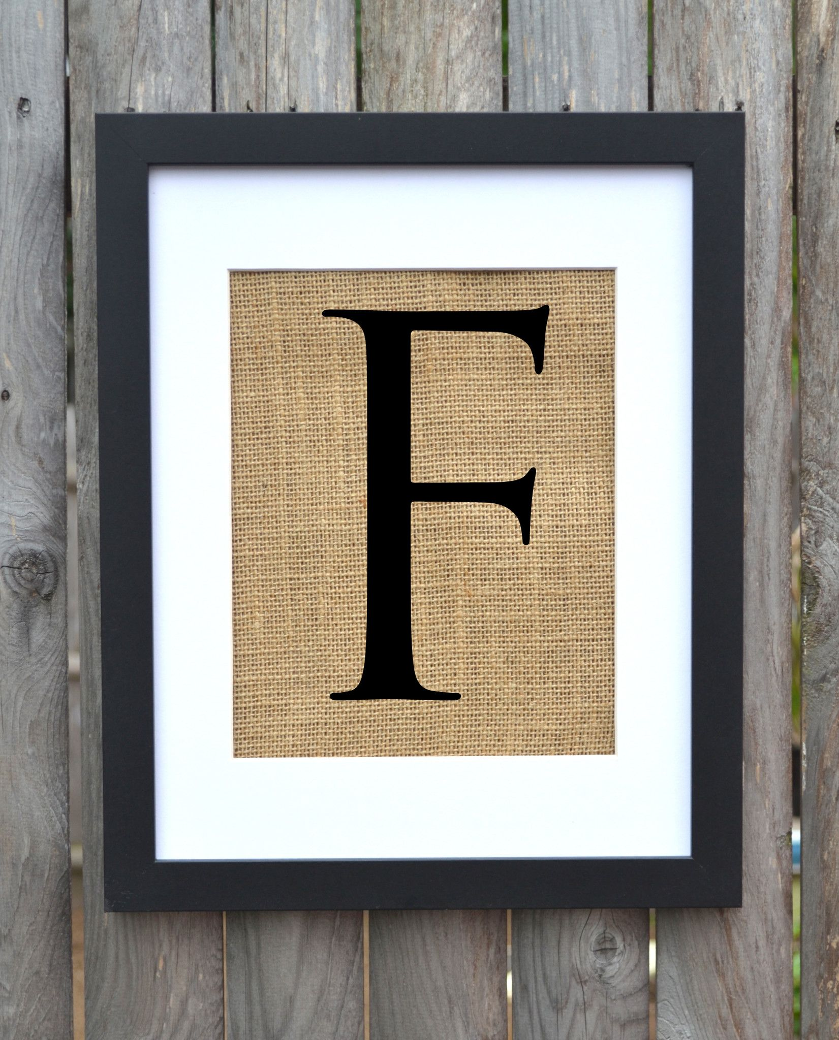 Letter F print on burlap by Fiber and Water | pair with an ampersand ...