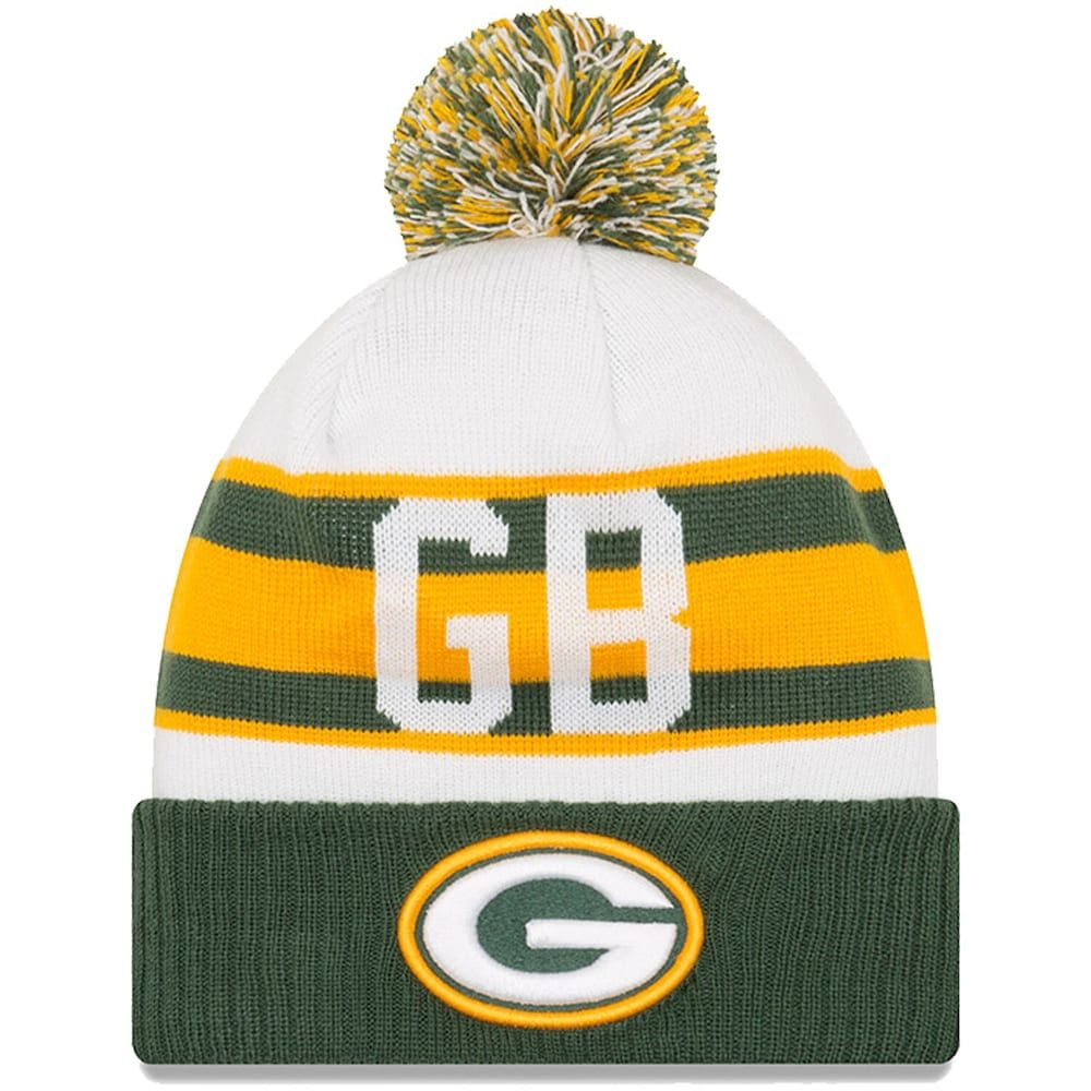 Youth New Era White Green Green Bay Packers Retro Cuffed Knit Hat With Pom Knitted Hats Green Bay Packers Hat Green Bay Packers Logo