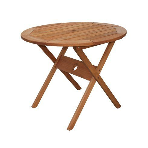 Wooden Round Bistro Table 35u0027u0027 With Umbrella Hole Garden Outdoor Folding  Furniture * Continue