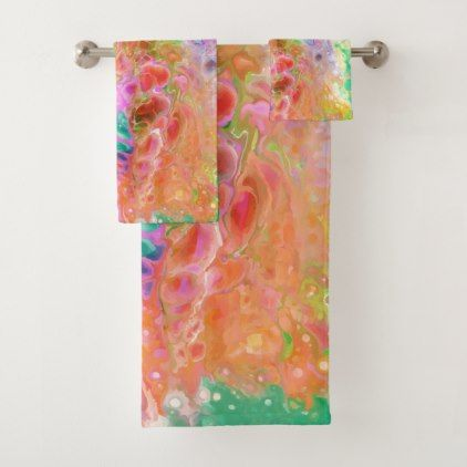 Abstract Bath Towel Set Zazzle Com Watercolor Style Bath