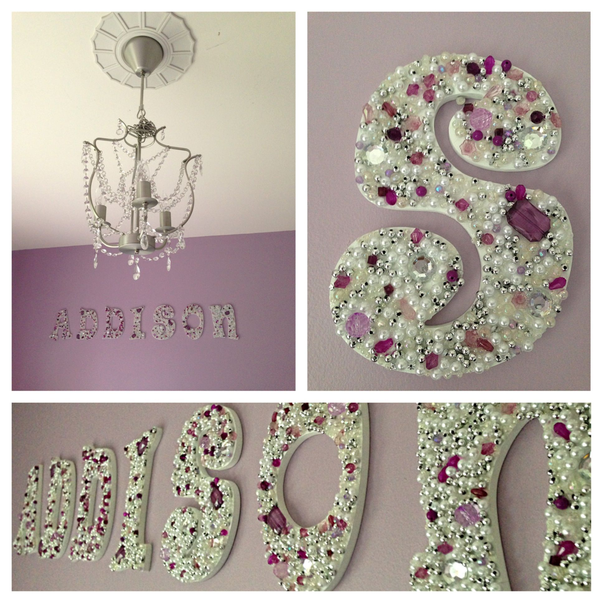 Diy jeweled wooden letters for little girls room future for Diy princess room ideas