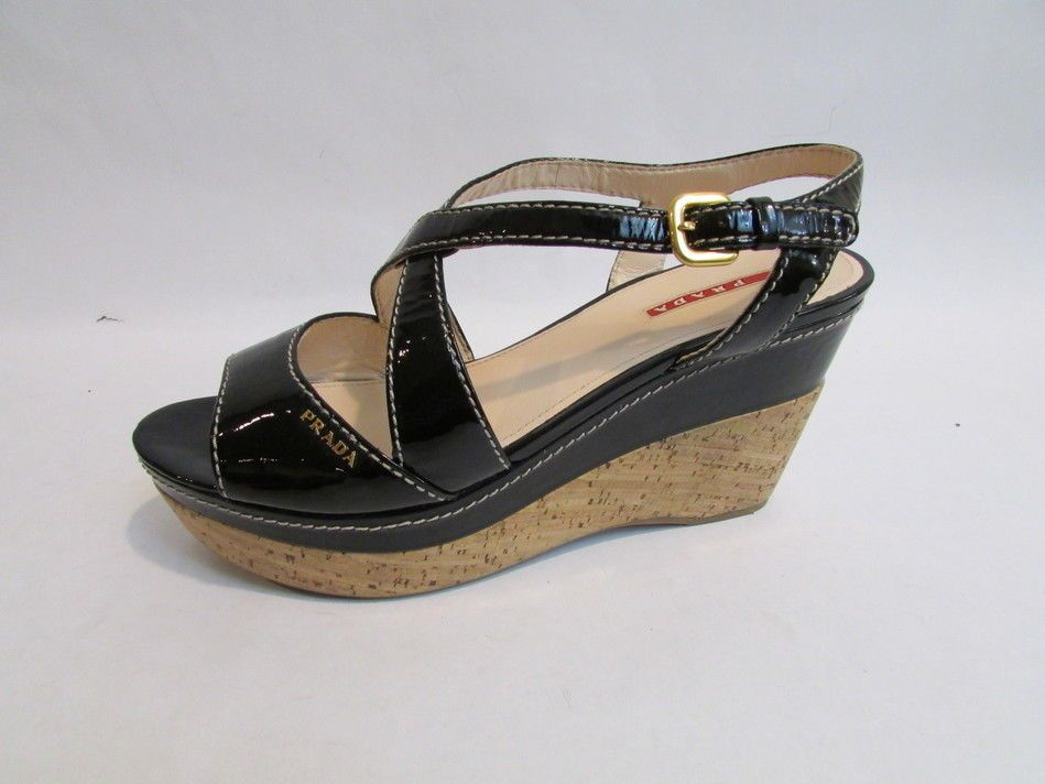 5a8ac78926 Black Prada Patent Leather Strappy Cork Wedges Size 41 1/2 Prada Black  Patent #PRADA #PlatformsWedges