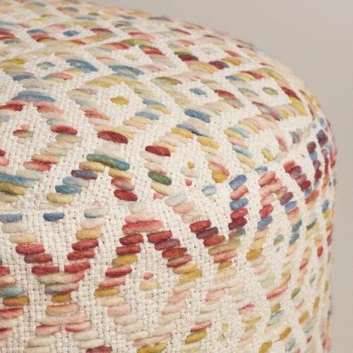Multicolor Diamond Wool Pouf | World Market