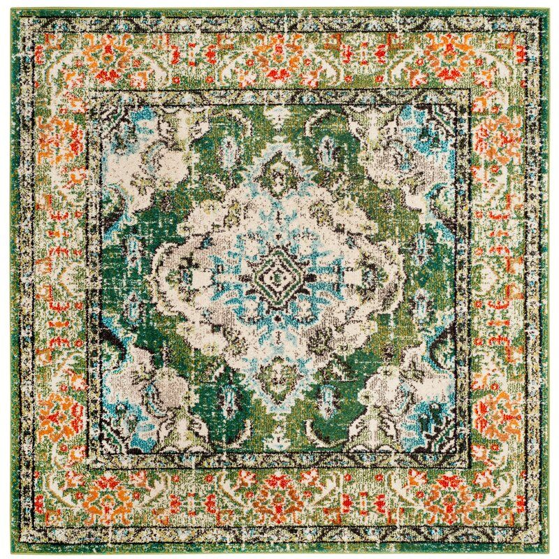 Indira Oriental Green Area Rug In 2020 Square Rugs Area Rugs Traditional Area Rugs