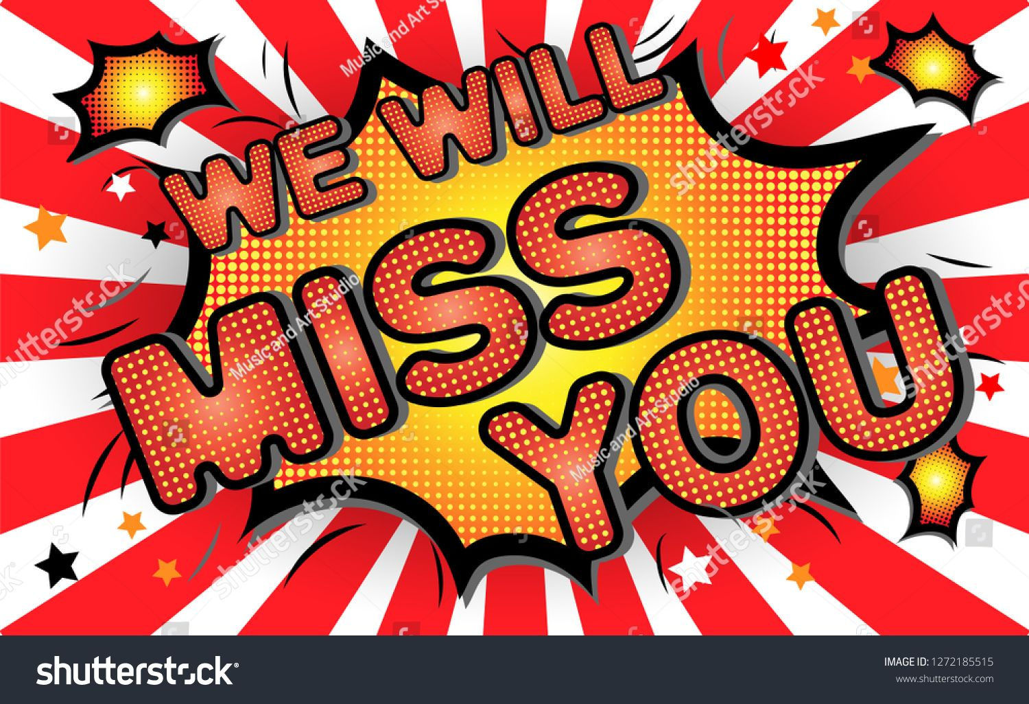 Farewell Party Template We Will Miss You Text Design Pop Art Comic Style Colorful Background For T Shirt Print Party Background Pop Art Comic Banner Printing