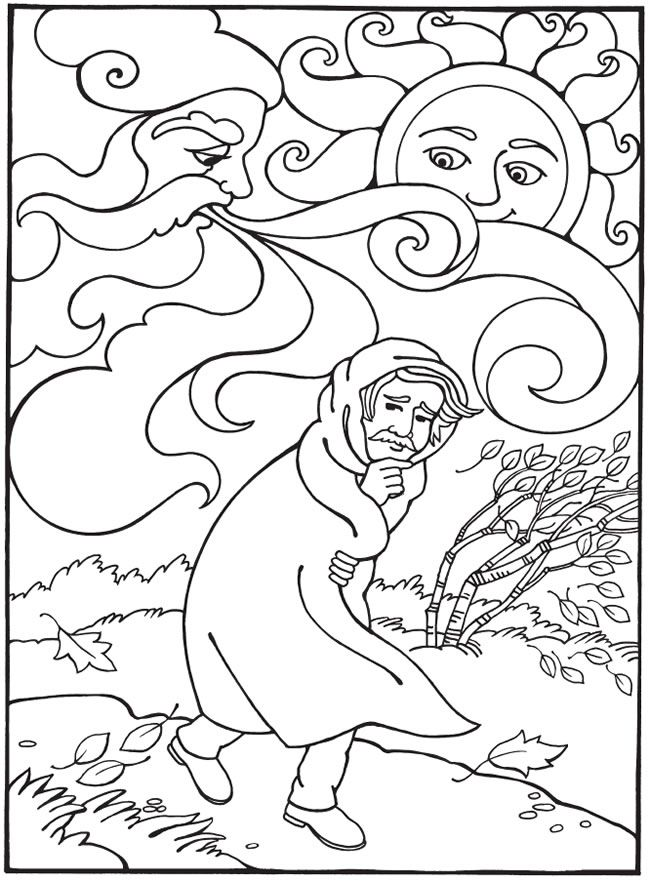 Best-Loved AESOP'S FABLES The Wind and The Sun Coloring