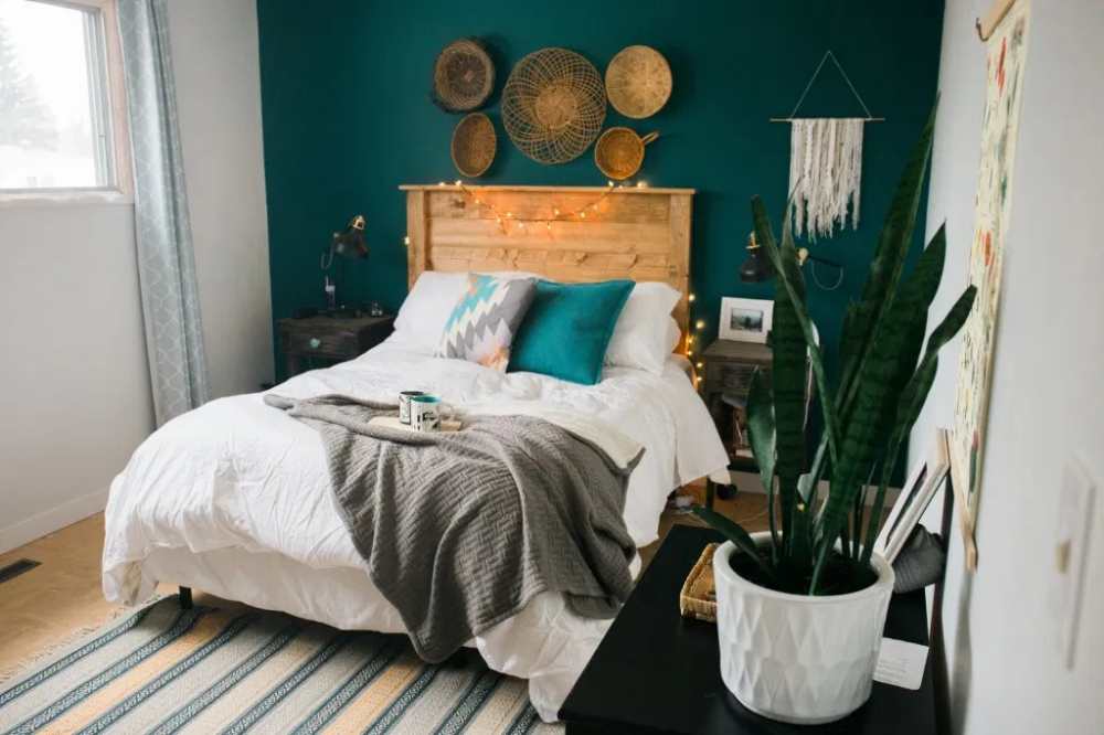 Boho Minimal Bedroom Minimalist Bohemian Bedroom Teal Bedroom Wall Basket Wall Bedroom Boho Basket W In 2020 Teal Bedroom Walls Teal Bedroom Decor Teal Bedroom