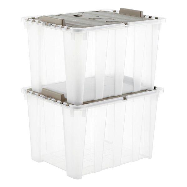 Taupe 12 Gal Wing Lid Tote Storage Tubs Storage Bins Plastic Storage