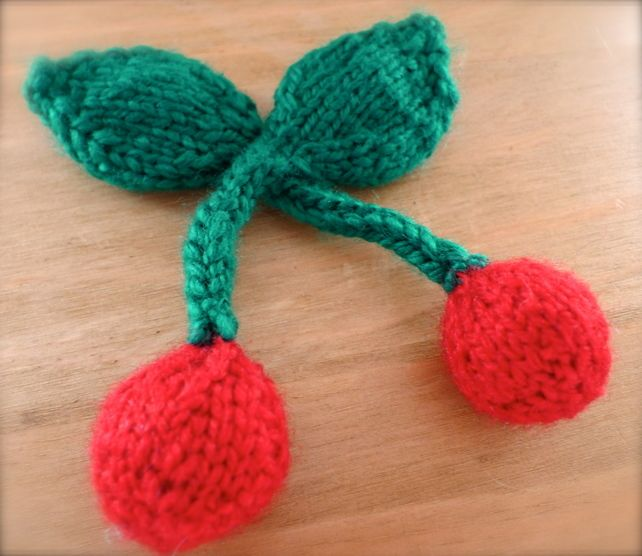 Knitted Red Cherries Brooch £3.50