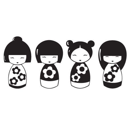 Kokeshi dolls sticker kokeshi dolls stickers and dolls for Stickers kokeshi