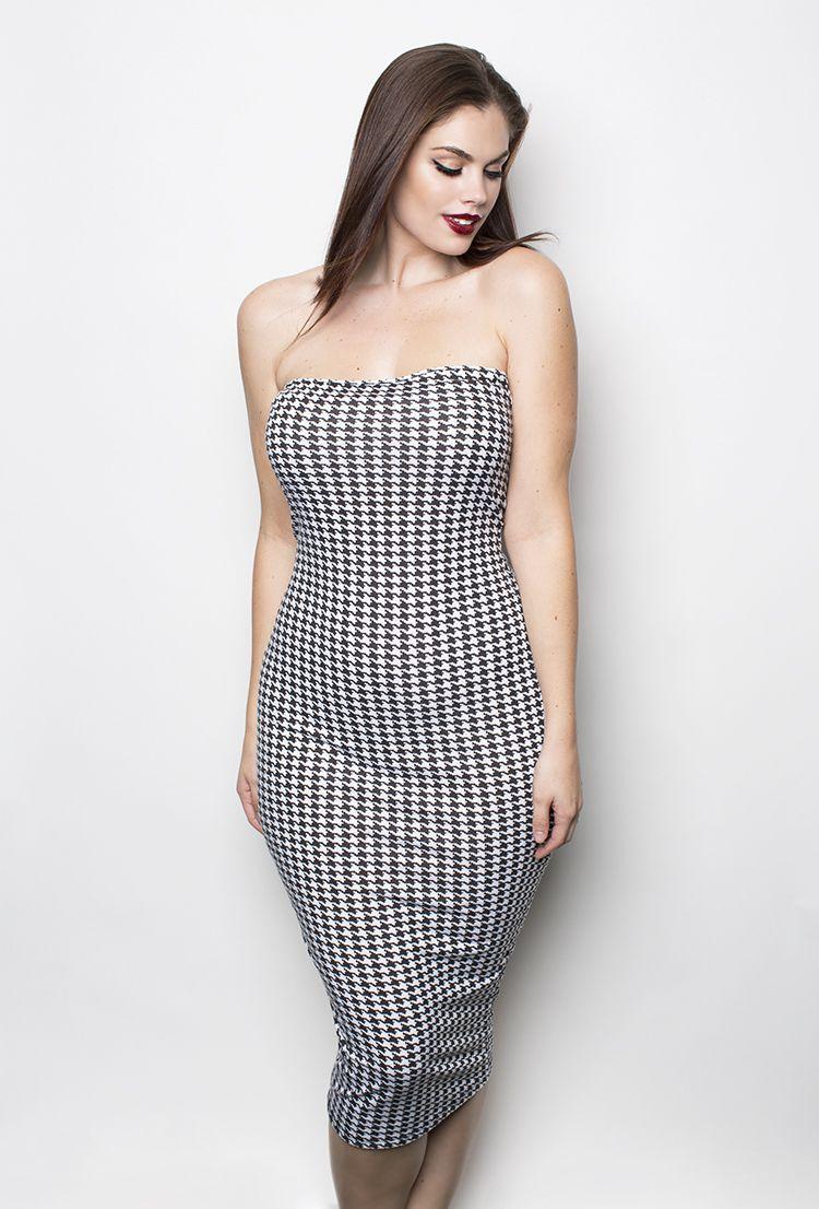 Grisel Houndstooth Midi Dress Shop Womens Missy Plus Size