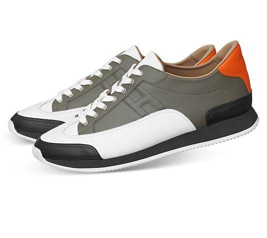 56695ea456 Hermès Goal Sneaker in Black/White/Bronze/Orange Calfskin #Hermes ...
