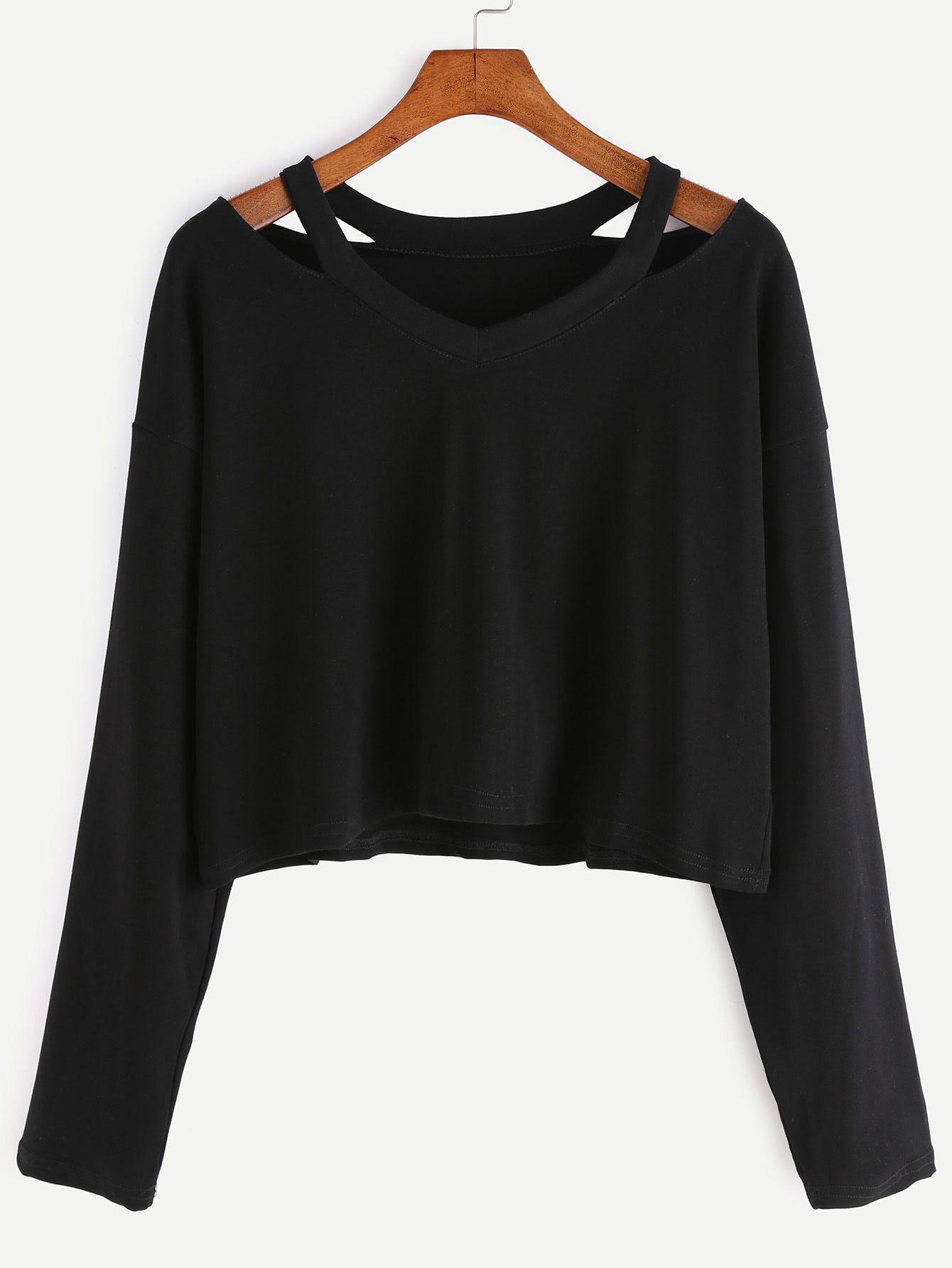 e6266d018c Cut Out Neck Long Sleeve T-shirt -SheIn(Sheinside) | Stuff to buy in ...