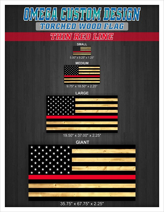 Thin Red Line Wood American Rustic Torched Flag Wall Art