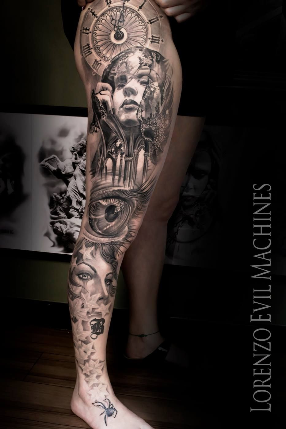 Treppe Tattoo Woman Gothic Catrina Beauty Art Realistic Tattoo By Lorenzo