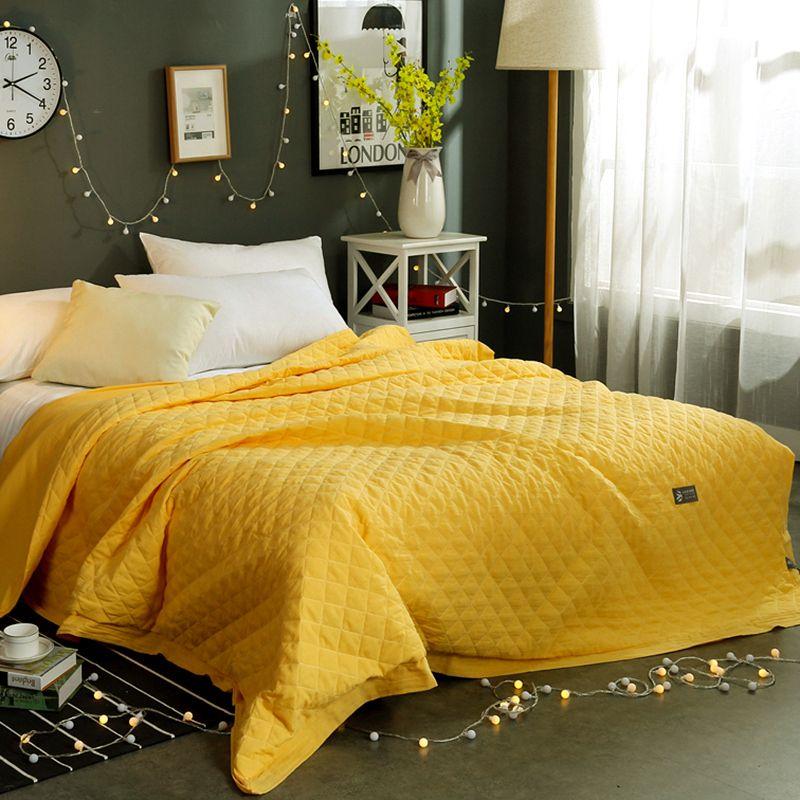 Autumn Spring Summer Solid Comforter Yellow Pink Grey Jade Blue