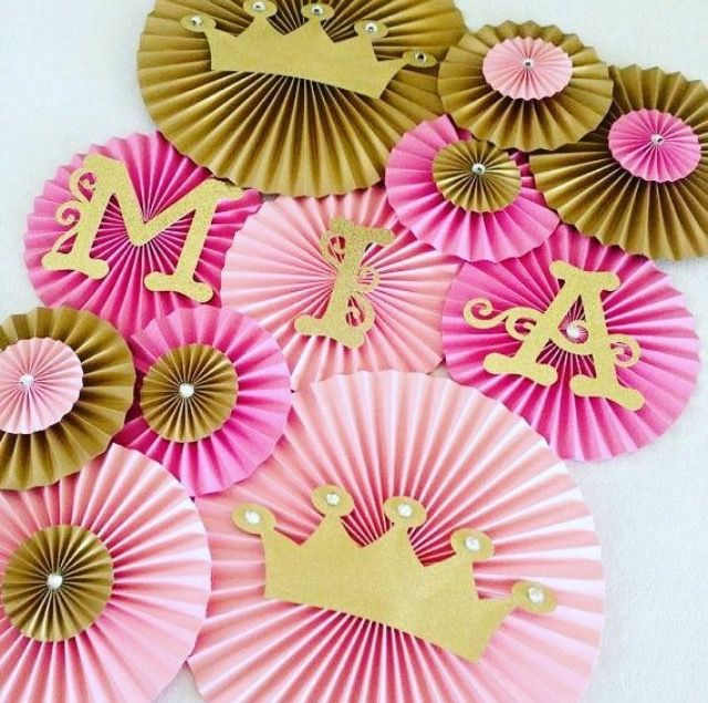 Incroyable Princess Theme Paper Fans  Set Of Princess Party Backdrop, Princess Crown  Decor, Royal Birthday, Pink And Gold Birthday