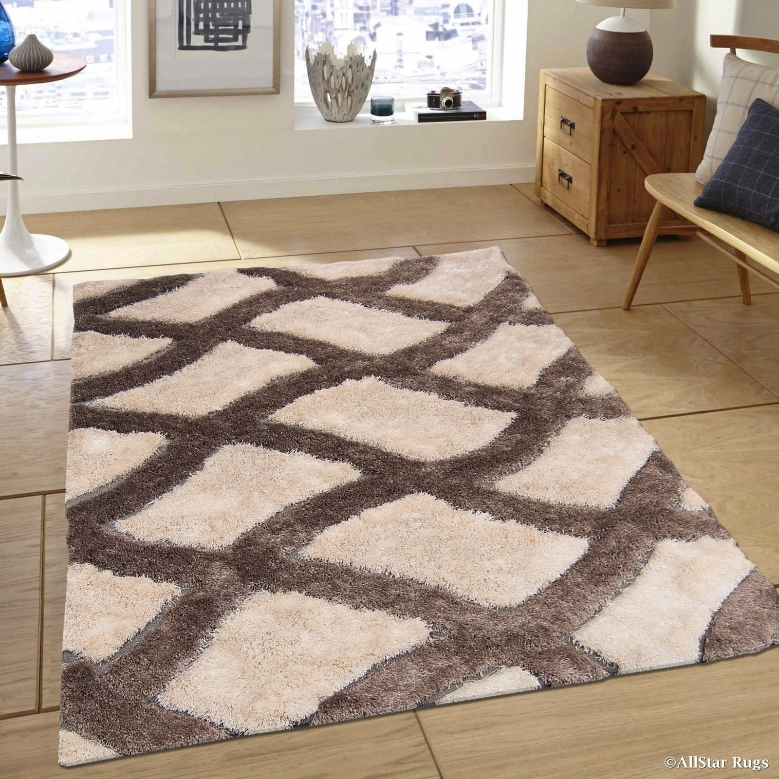 rug for living room size%0A Brown Trellis Design Thick High Pile Rug