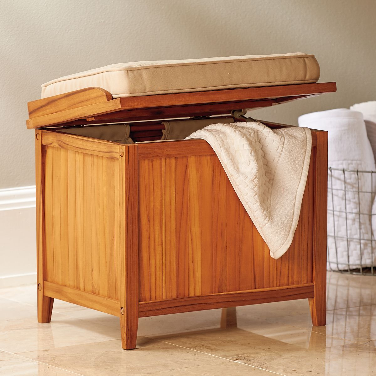 Teak Hamper Bench Storage Bench Seating Bathroom Bench Seat