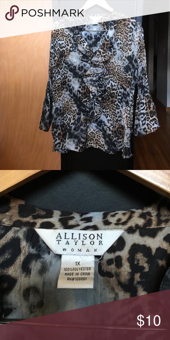 Allison Taylor Woman Leopard Print Blouse. 1X Allison Taylor Woman Leopard Print Blouse. 1X Allison Taylor Woman Tops Blouses
