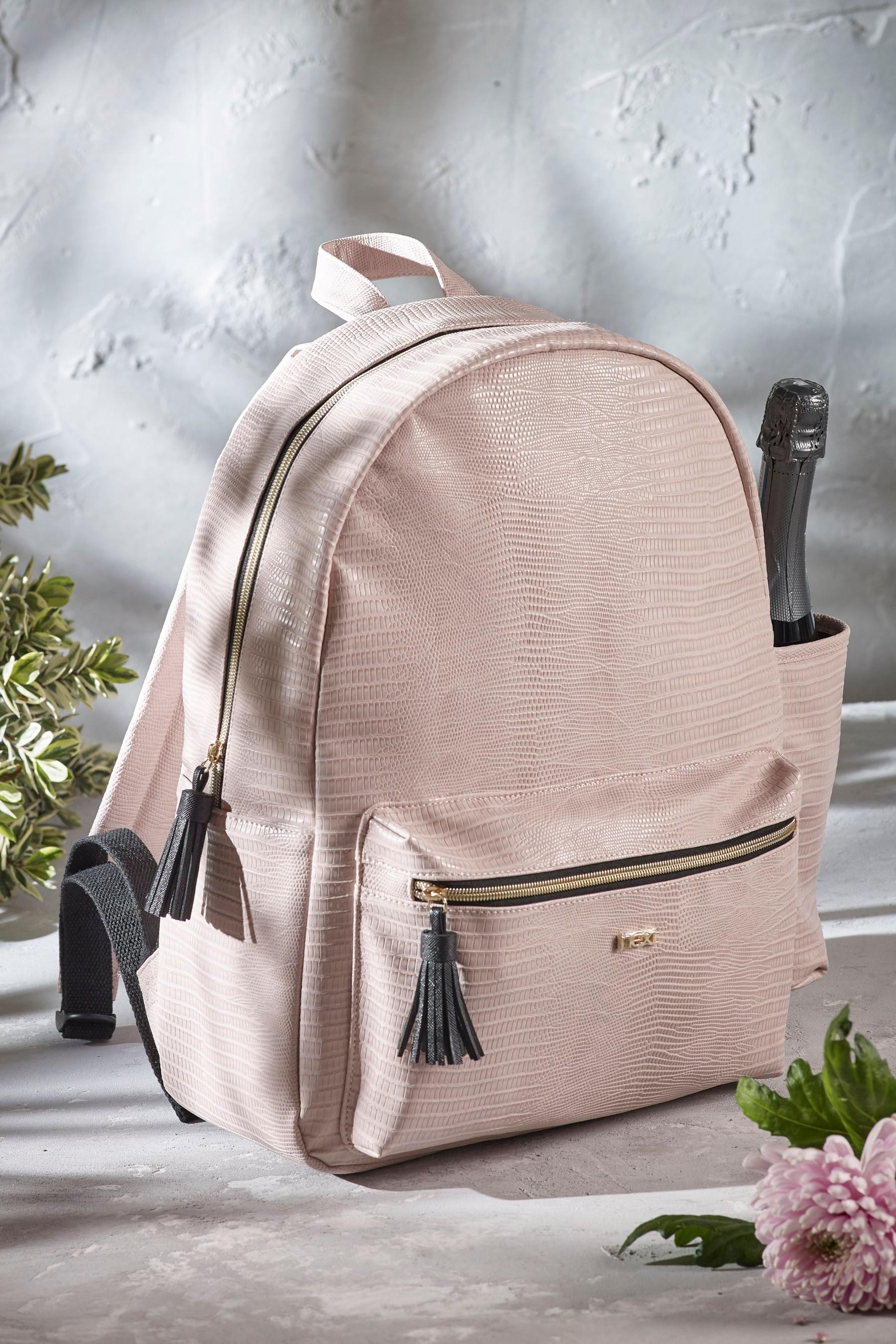 Next Blush Faux Croc Picnic Backpack Pink Picnic