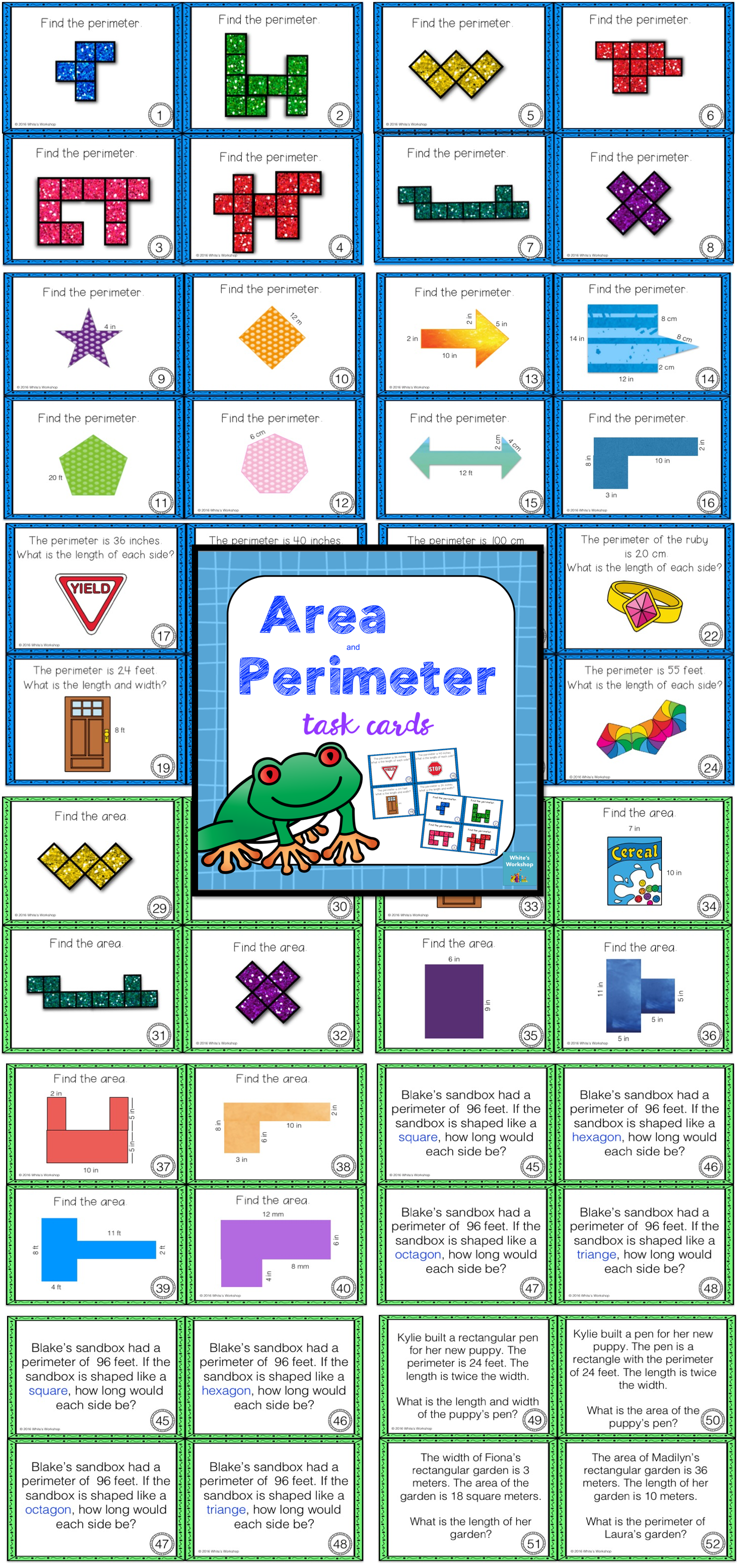 Area And Perimeter Task Cards White S Workshop Https Www Teacherspayteachers Com Product Area And P Perimeter Task Cards Math Task Cards Area And Perimeter [ 3112 x 1463 Pixel ]