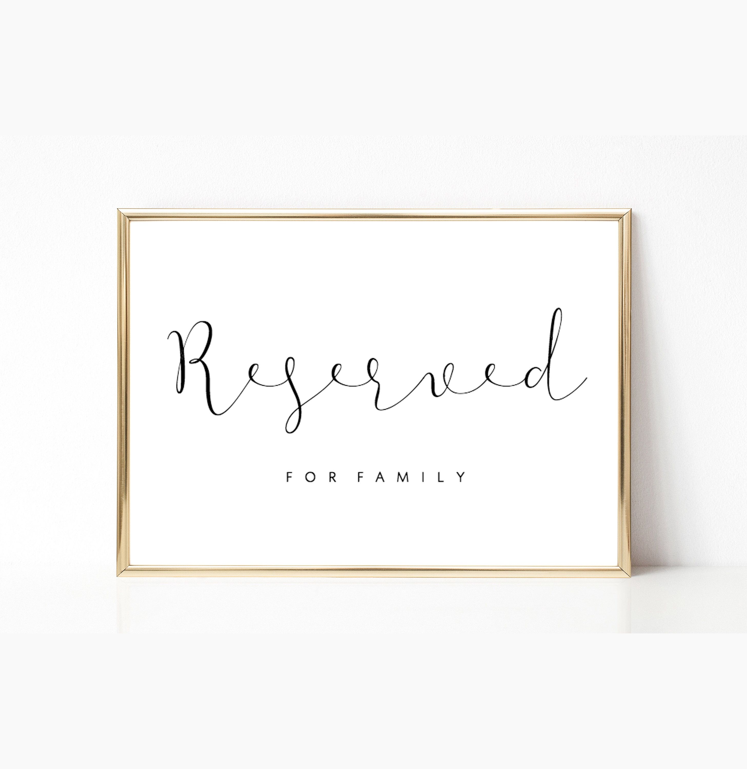 Editable Reserved Wedding Sign Printable Reserved Template Print