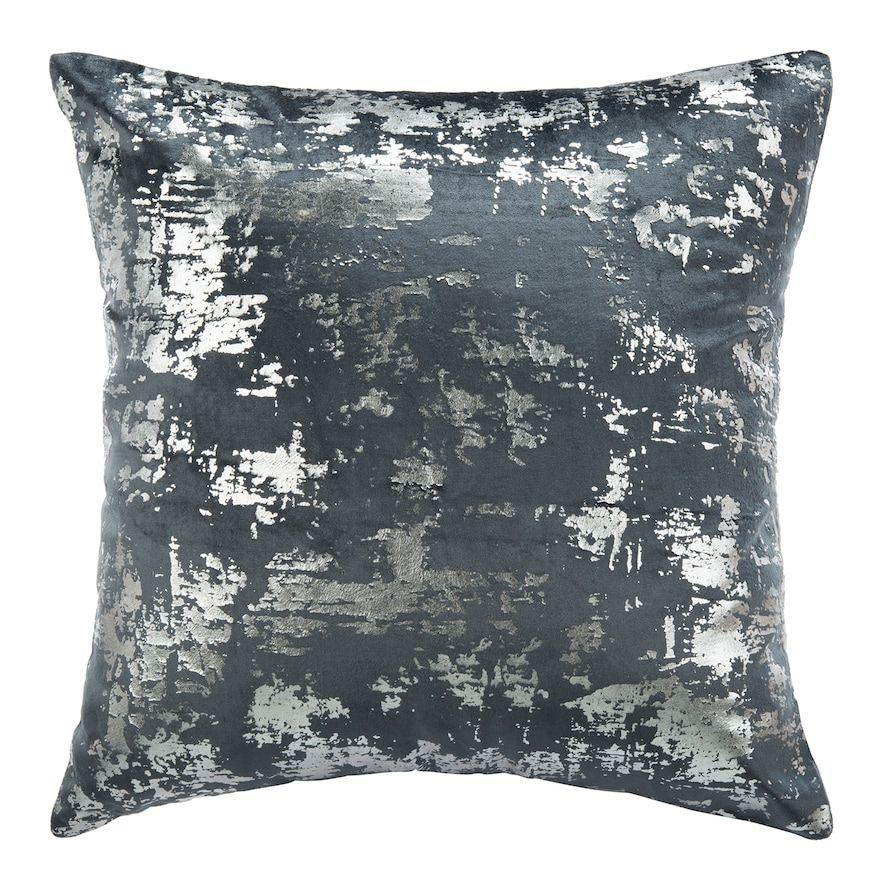 Safavieh Edmee Metallic Throw Pillow Throw Pillows Blue Silver Pillows