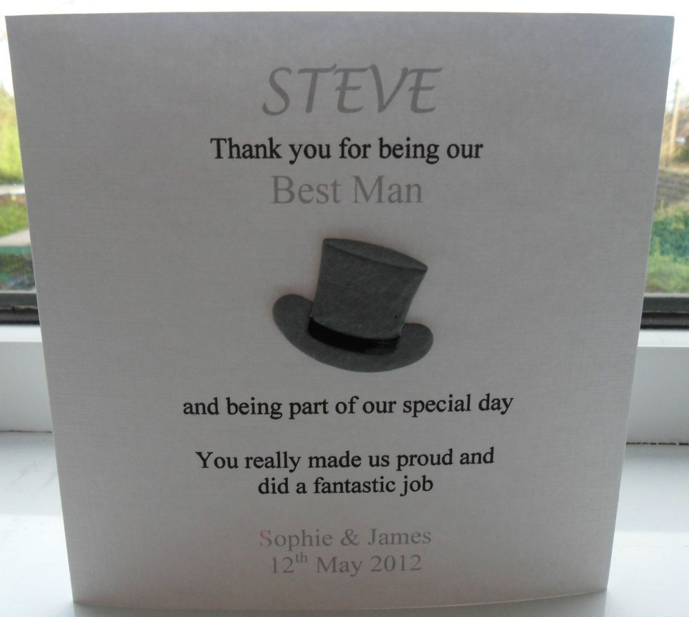 Handmade Personalised Thank You Best Man Usher Page Boy Groomsman Card Wedding