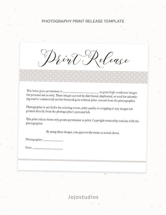Photography Print Release Form Template, Photography Template