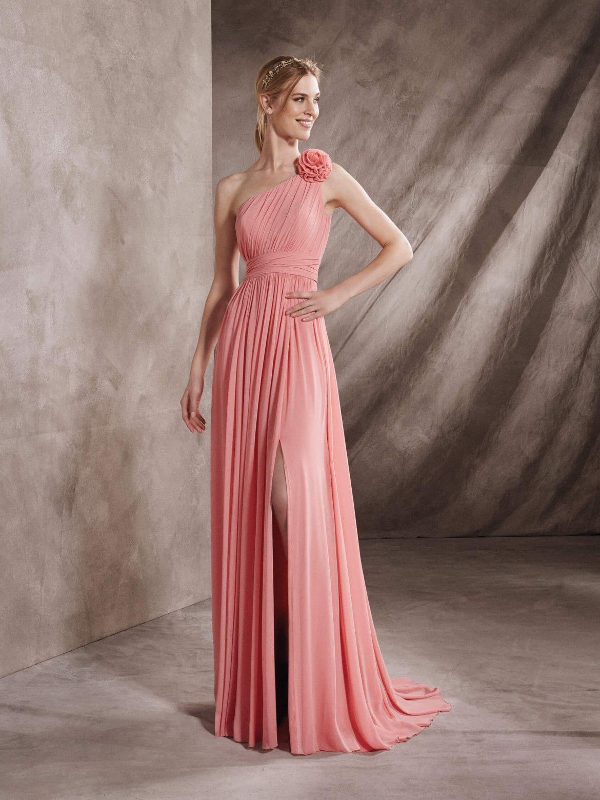 Flare, one-shoulder cocktail dress in gauze | Vestidos Madre ...