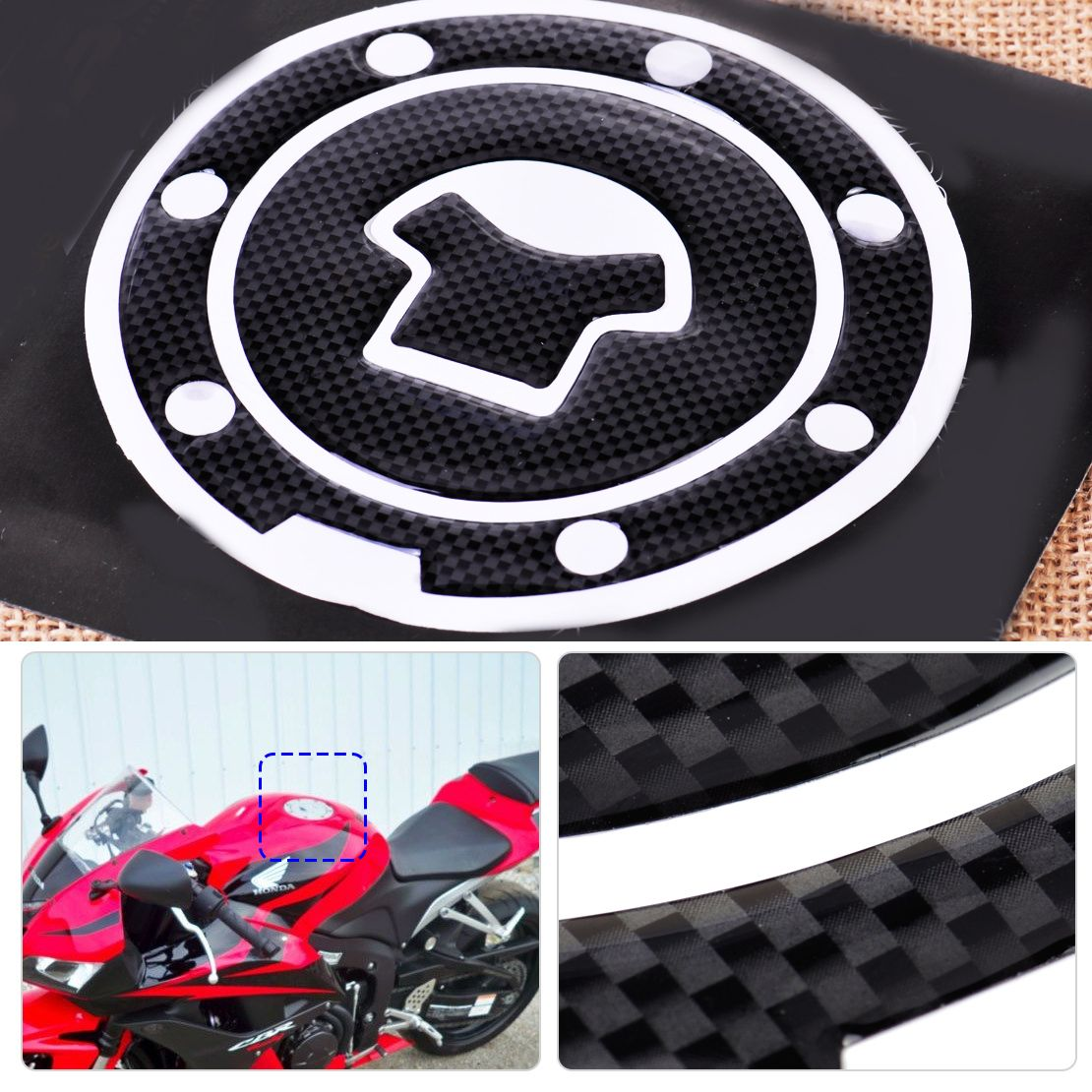 1pc Black Motorcycle Sticker Fuel Gas Cap Tank Cover Pad Decal Protector Fit For Honda Cbr600rr Cb900f Cb65 Motorcycle Stickers Honda Cbr600rr Black Motorcycle [ 1110 x 1110 Pixel ]