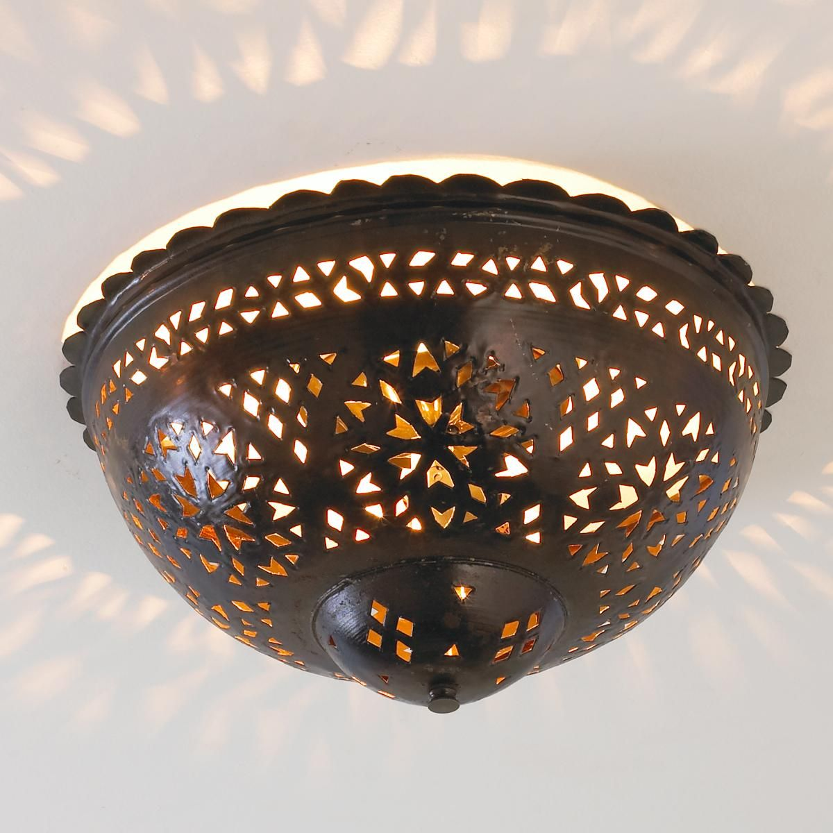 Moroccan scalloped rusticcabin lighting pinterest ceiling moroccan scalloped and punched metal semiflush ceiling light shades of light arubaitofo Choice Image