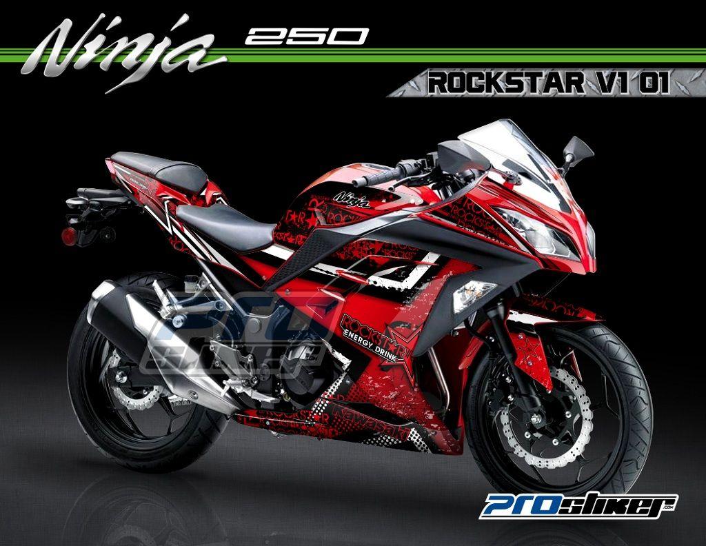 Decal kawasaki ninja 250 fi merah motif desain rockstar v1 01 modifikasi prostiker