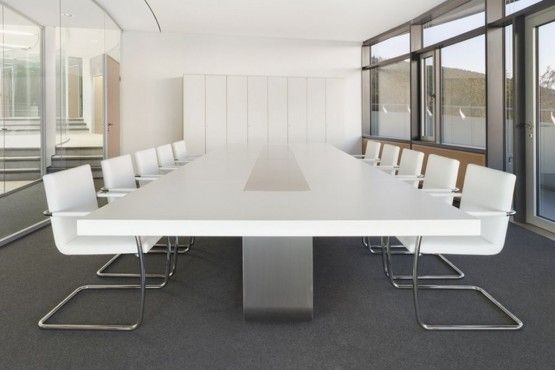This White Boardroom Table Would Offset The Black Ceiling And - Grey conference table