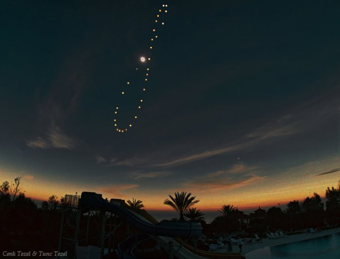 Tutulemma, an analemma with a solar eclipse. Unique photo by Tunc Tezel