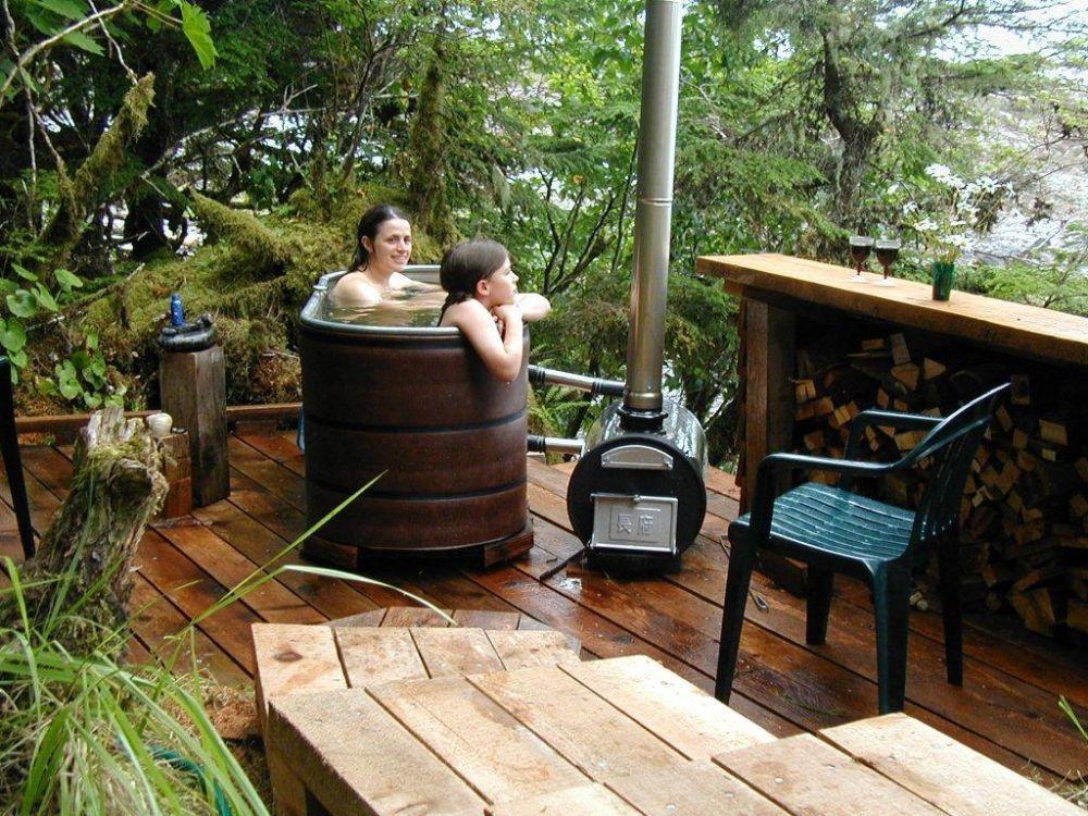Diy wood fired hot tub photos outdoor baths stock tank tub