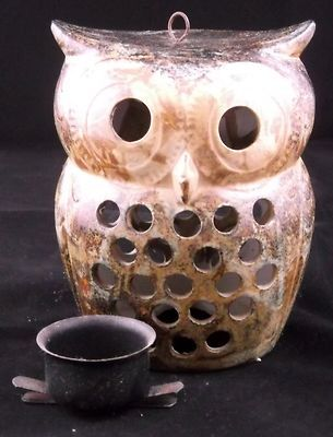 Vintage Ceramic Pottery Owl Tea Light Candle Holder - for sale on EBay