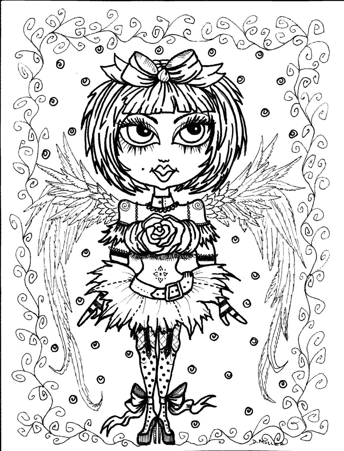 Coloring book pages angels - Instant Download 5 Coloring Pages Gothic Angels Color Book Art Digital