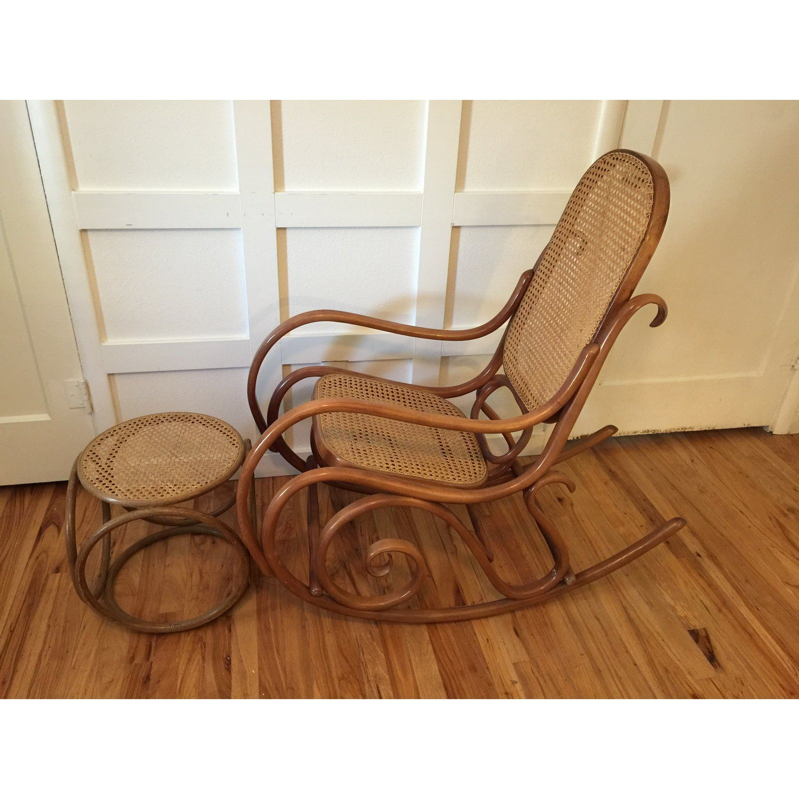 1960s Thonet Style Boho Chic Bentwood Cane Rocking Chair And Footstool 2 Pieces Cane Rocking Chair Comfy Rocking Chair Rattan Rocking Chair