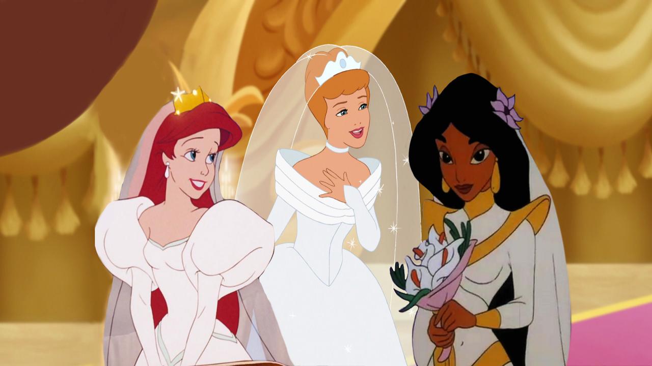 Disney Princesses Weddings Ariel Cinderella And Jasmine Thelittlemermaid Aladdin Disneymovie Disneyprin Disney Princess Wedding Disney Dresses Disney [ 720 x 1280 Pixel ]
