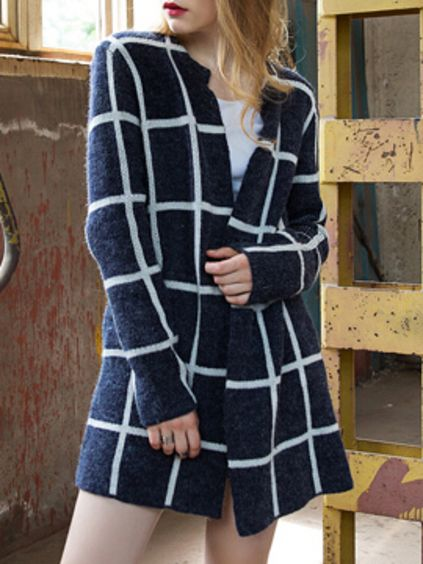 Blue Long Sleeve Plaid Coat Mobile Site