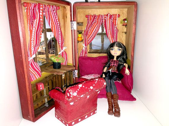 Ever After High House Rooms With Furniture 5115003 Fits Barbie Monster High  Cerise Hood Sweden Dollhouse Furniture Sofa EAH TAke Away House