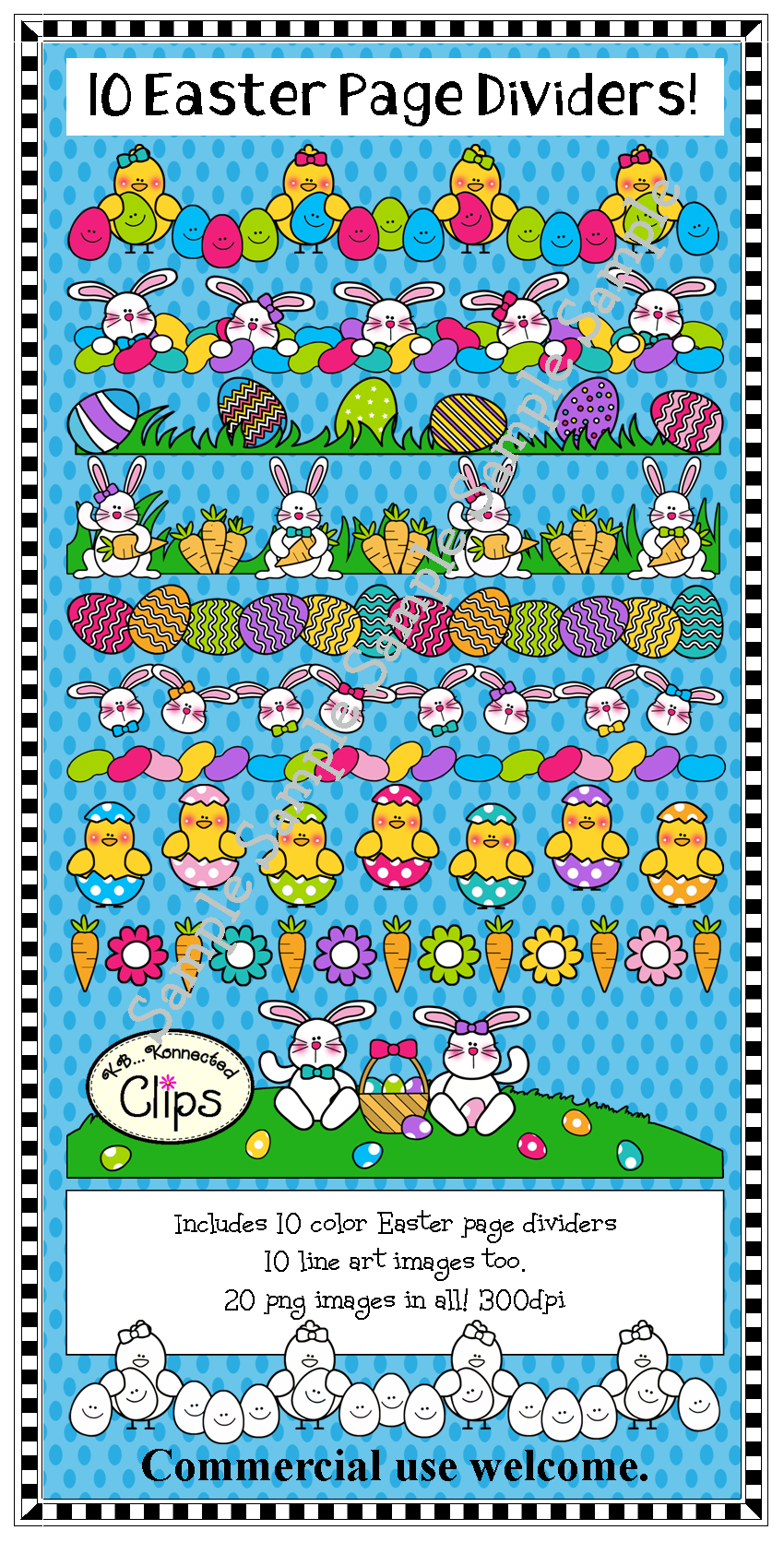 10 Easter Page Dividers - color and line art | Easter, Bulletin ...