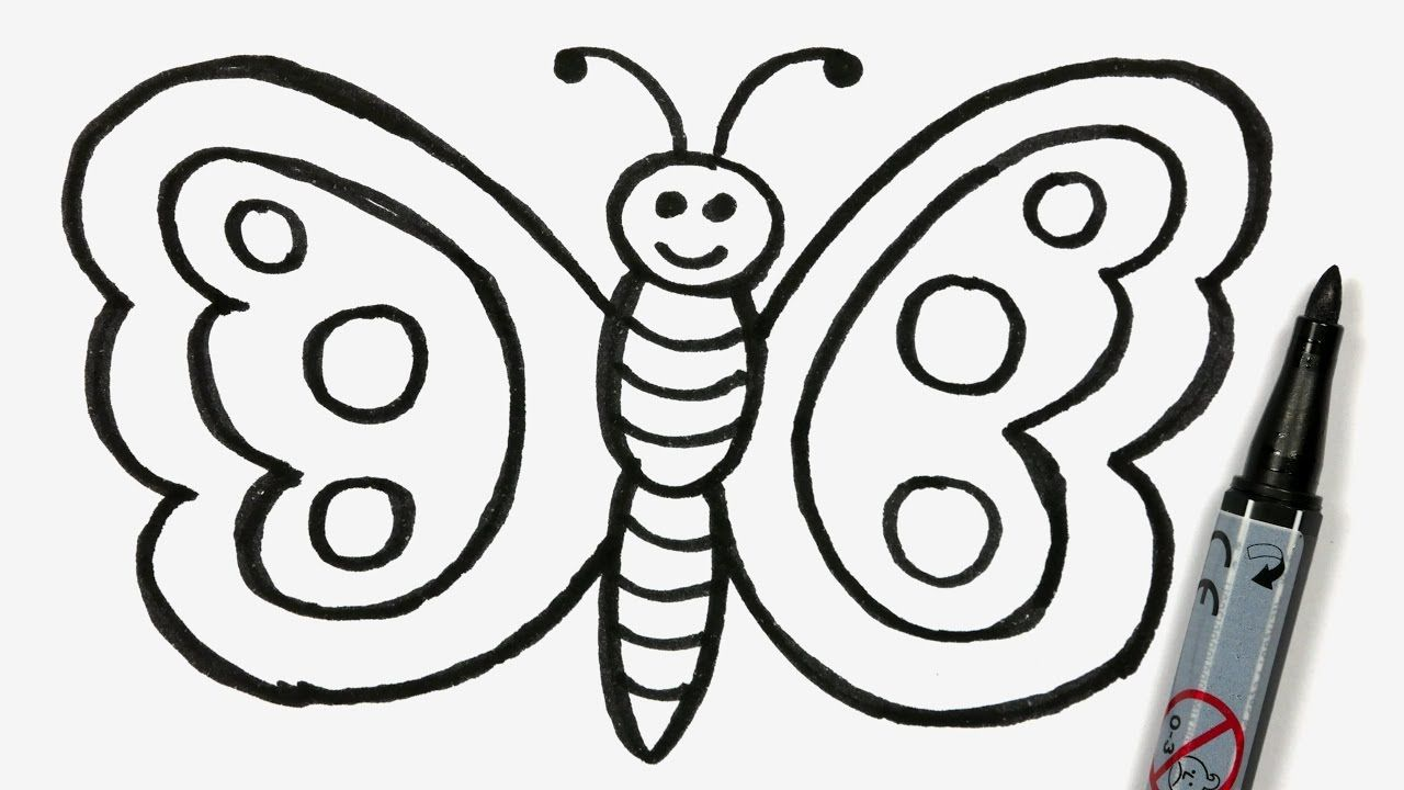Uncategorized How To Draw An Easy Butterfly how to draw a cartoon butterfly easy doodle for children 61 61